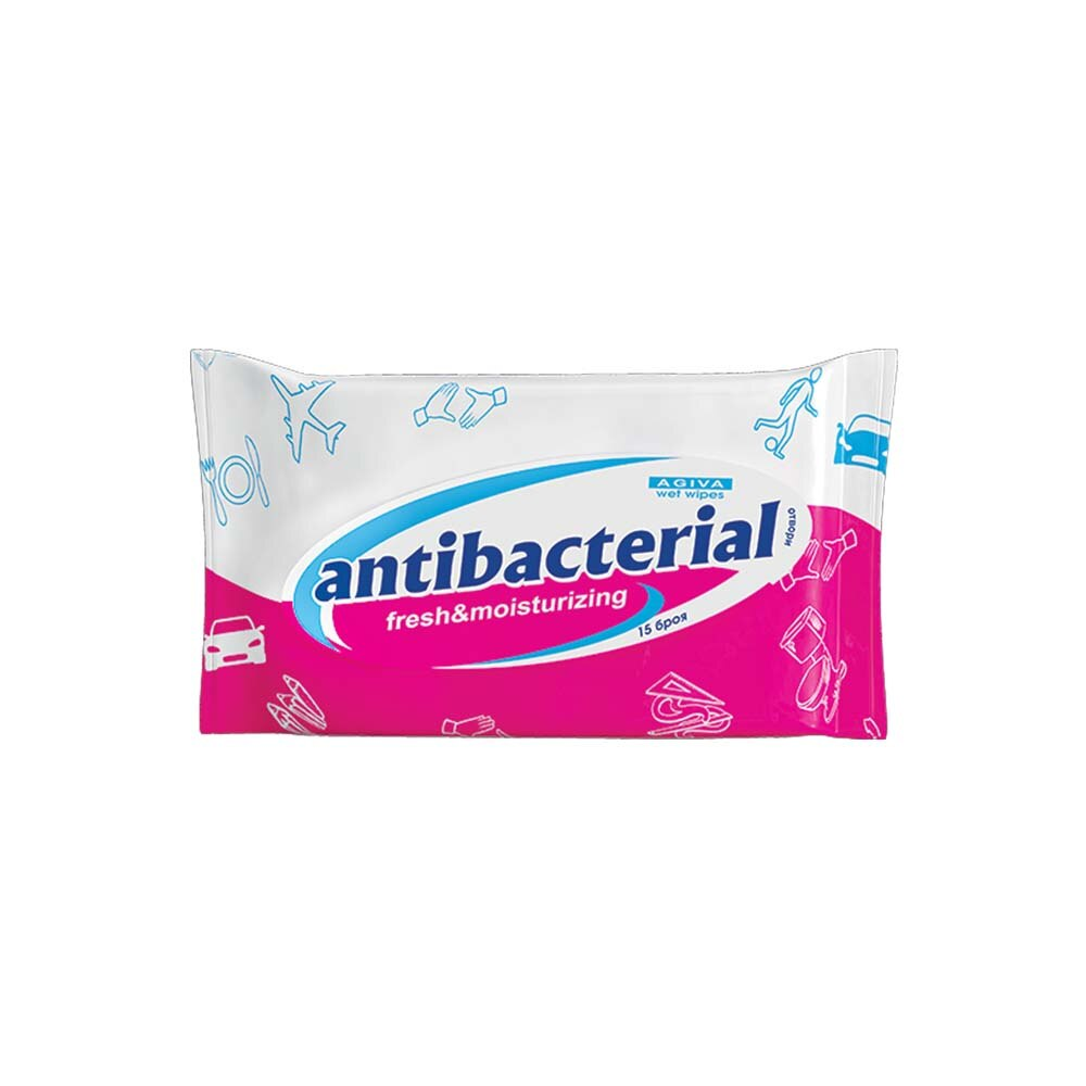 Агива Мокри Кърпи Антибактериални Розови 15бр