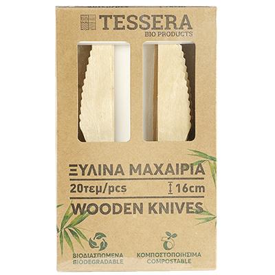Тесера дървени ножове 16см 20бр